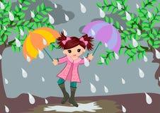 Menina no dia chuvoso Imagens de Stock Royalty Free