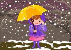 Menina no dia nevado ilustração royalty free