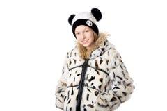 Menina no equipamento engraçado do inverno Imagem de Stock