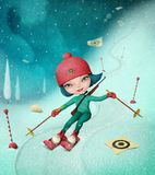 Menina no esqui do slalom ilustração do vetor