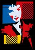 A menina no estilo de um cubismo Imagem de Stock
