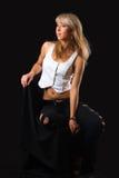 Menina no fundo preto Imagens de Stock Royalty Free