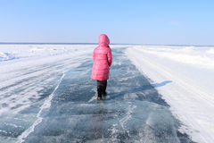 A menina no gelo Imagem de Stock
