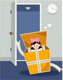 Menina no giftbox Imagem de Stock
