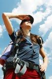 Menina no hike Imagens de Stock