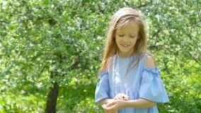 A menina no jardim de florescência da árvore de maçã no dia de mola joga com joaninha vídeos de arquivo