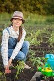 A menina no jardim faz a plantação de sementes Fotos de Stock