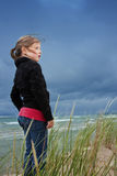 Menina no lago Michigan Fotografia de Stock