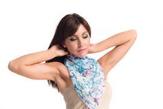 Menina no lenço azul fotografia de stock