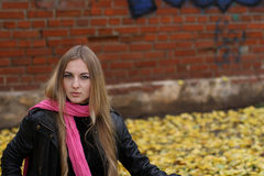 A menina no lenço cor-de-rosa. Outono Fotos de Stock