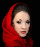 Menina no lenço vermelho fotografia de stock royalty free