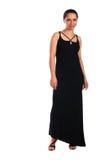 Menina no levantamento preto do vestido Imagem de Stock