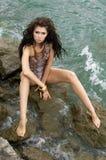 Menina no mar Imagens de Stock Royalty Free