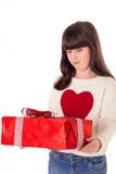 Menina no Natal com caixas de presente Foto de Stock