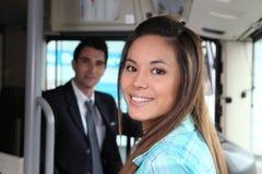 Menina no ônibus fotografia de stock royalty free