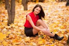 A menina no outono Imagens de Stock Royalty Free