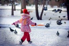 A menina no parque corre pombos das dispersões no inverno Fotos de Stock Royalty Free