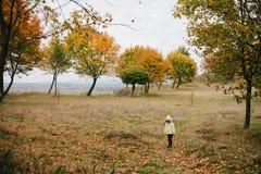 Menina no parque do outono pathway fotos de stock