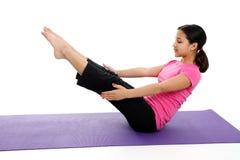 Menina no Pose da ioga fotografia de stock royalty free