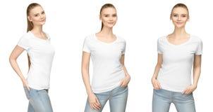 Menina no projeto branco vazio do modelo do tshirt para a cópia e a jovem mulher do molde do conceito na parte dianteira do t-shi fotos de stock royalty free