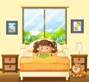 Menina no quarto com cão de estimação ilustração royalty free