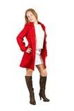 Menina no revestimento vermelho foto de stock royalty free