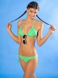 Menina no sorriso do swimsuit Imagem de Stock