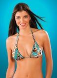 Menina no sorriso do swimsuit Foto de Stock Royalty Free
