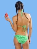 Menina no swimsuit com melancia Imagens de Stock