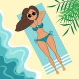 Menina no swimsuit na praia ilustração do vetor