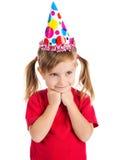 Menina no tampão do aniversário fotos de stock royalty free