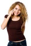 Menina no telefone Fotografia de Stock