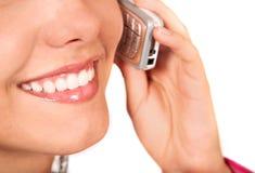 Menina no telefone - ascendente próximo da boca Imagens de Stock