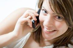 Menina no telemóvel Fotografia de Stock Royalty Free