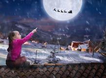 Menina no telhado na noite do inverno fotografia de stock royalty free