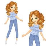 Menina no terno azul do verão Imagens de Stock Royalty Free