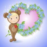 Menina no terno de um urso de peluche com uma rosa Fotos de Stock Royalty Free