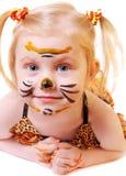 Menina no terno do tigre Imagens de Stock
