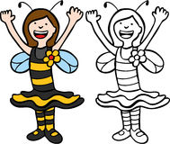 Menina no traje da abelha Fotografia de Stock
