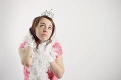 Menina no traje da princesa. cor-de-rosa fotografia de stock royalty free