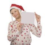 Menina no traje de Santa Claus Imagens de Stock