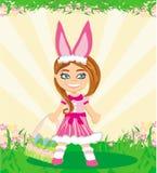 Menina no traje do coelho ilustração stock