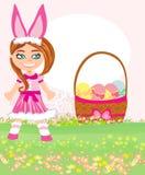 Menina no traje do coelho ilustração do vetor