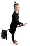 Menina no traje do Dia das Bruxas isolado no fundo branco Foto de Stock Royalty Free