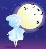 Menina no traje do fantasma ilustração do vetor