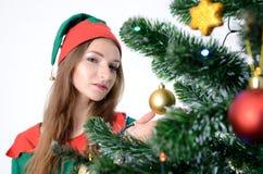 Menina no traje do Natal Imagem de Stock Royalty Free