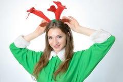 Menina no traje do Natal Imagens de Stock Royalty Free