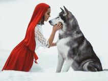 A menina no traje pouca capa de equitação vermelha com malamute do cão gosta da imagens de stock
