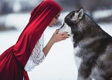 A menina no traje pouca capa de equitação vermelha com malamute do cão gosta da fotos de stock royalty free