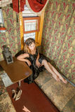 Menina no trem velho do transporte Fotos de Stock